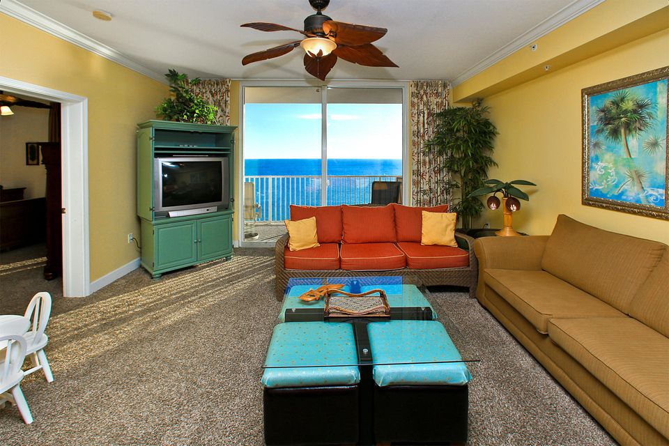 Phenomenal 3-bedroom, 3-bath Gulf front unit at one of Panama City Beaches newest resorts. Tidewater Resort offers 636 feet of designated beachfront and ample amenities for owner's and guests to enjoy. The unit is one of the larger floor plans totaling 1,865 square feet and interior features floor to ceilings sliding glass doors to enhance the breathtaking Gulf views. The interior features raised ceilings, crown molding, an open floor plan, new carpet and tile in the kitchen, entry and bathrooms. This is an incredible investment opportunity with very established rental income setting it aside from the rest. The private balcony can be accessed by the living area and master bedroom. The balcony is the perfect place to relax or dine, but you can still capture the views from the dining area.