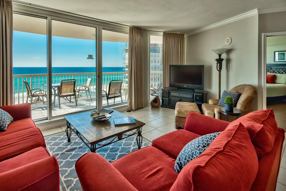 Dreaming of beachfront luxury at a prime gated community in Destin? St. Maarten Unit 607 is a phenomenal Gulf front 3-bedroom, 3-bath condominium with a private elevator and beautiful finishes throughout. Decor & paint was just updated professionally for a luxury coastal feel. Enjoy Gulf views from nearly every room and an expansive private terrace totaling 231 sq. ft. (9' x 33'). This is a great place to relax and entertain with the open floor plan. Not one, but two Gulf front bedrooms with balcony access, which is a rare treat for condos. The large floor to ceiling glass windows & doors truly maximize the Gulf views and the high ceilings and crown molding creates a grand atmosphere. The kitchen offers a convenient breakfast bar, trayed ceilings, and stainless steel appliances. Tile floors run throughout the main living area, kitchen and bathrooms and there is carpet in the bedrooms. The Gulf front master suite is very spacious with direct balcony access, en-suite bathroom and walk-in closet. The master bath has double vanities, separate walk-in shower, and a Jacuzzi tub to unwind in. The second master bedroom is also Gulf front with balcony access and an en-suite bath and there is an additional guest bedroom and bath. This unit is being sold fully furnished and beautifully decorated and includes a washer & dryer, flat screen TVs, and an assigned covered parking space #27.  Silver Shells Resort & Spa is an incredible gated luxury resort in Destin encompassing five buildings. St. Maarten is a Gulf front condominium in the southwest corners of the complex. Amenities include a 7,500 sq. ft. Gulf front lagoon pool, kiddie pool, hot tub, tennis & basketball courts, fitness center, designated private beach, beach service, The Sand Bar (beachside bar & grille), Ruth Chris Steakhouse and The Spa along with an indoor/outdoor pool. All the conveniences you need at your fingertips. There are also poolside cabanas available. Start living the luxurious resort lifestyle today and enjoy the beach and all this community has to offer!