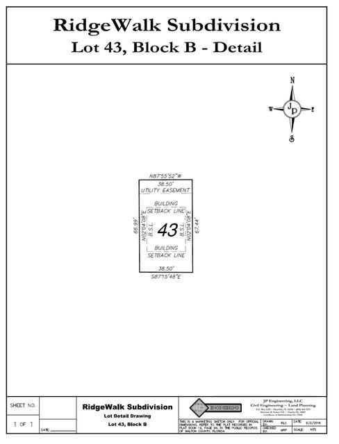Lot 43-B RidgeWalk Circle, Santa Rosa Beach, FL 32459