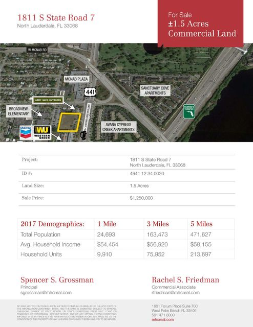 Land for Sale at 1811 S Sr7 1811 S Sr7 North Lauderdale, Florida 33068 United States