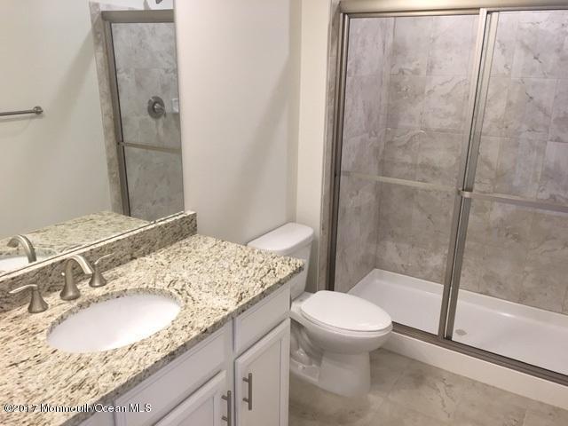 lower level powder room with stylish gra