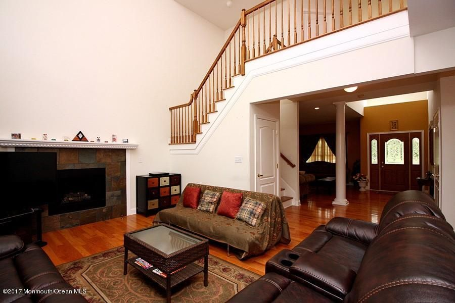 2 story family room with gas fireplace