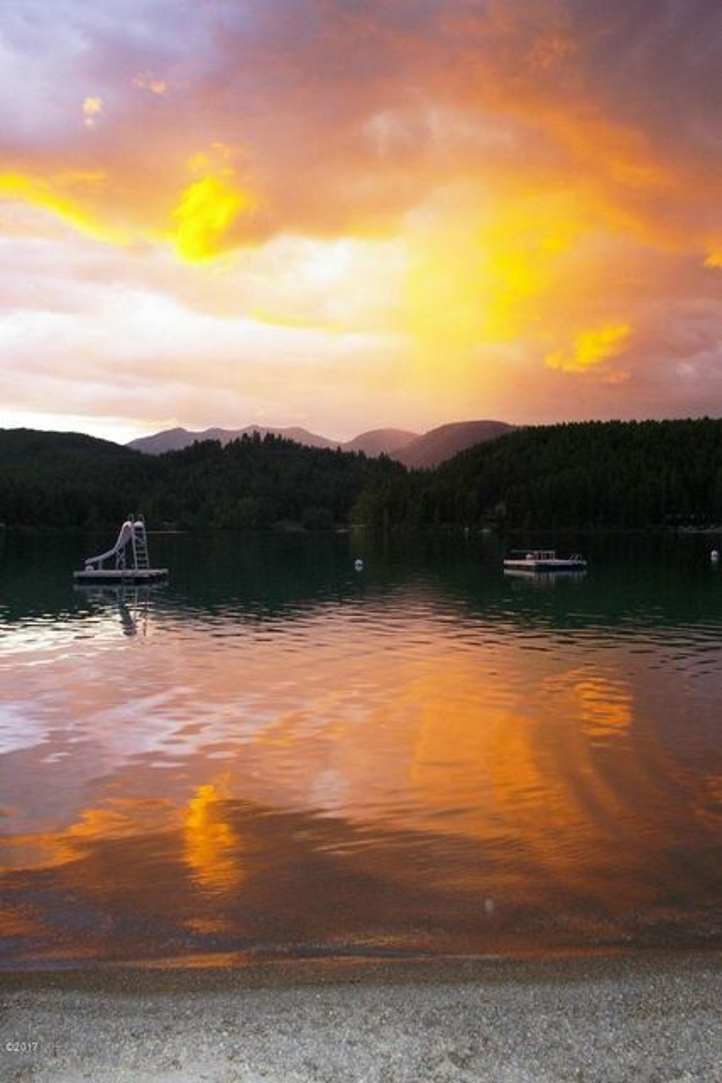 swim docks at sunset