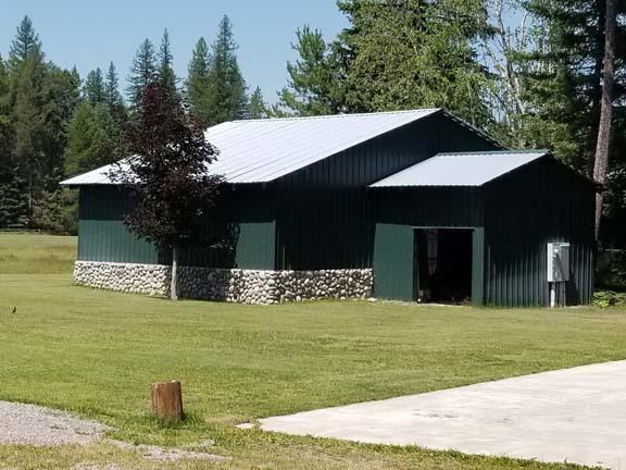 back of open hangar