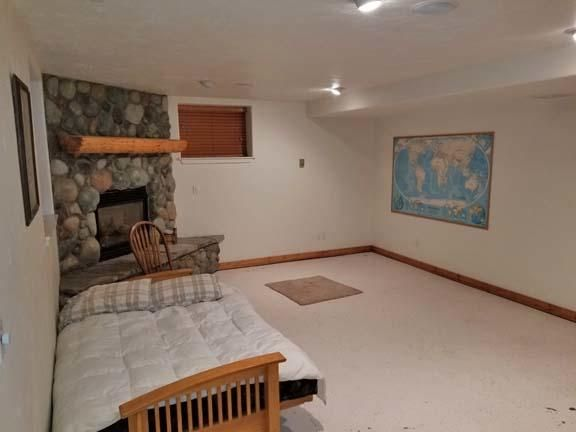 Basement family Room and fireplace