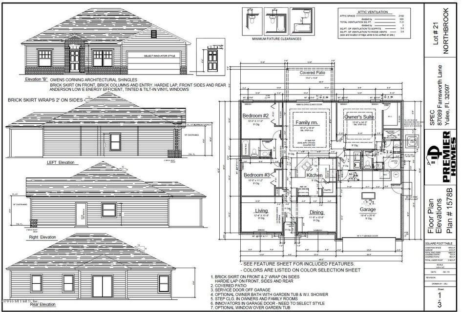 87089 FARNSWORTH,YULEE,FLORIDA 32097,3 Bedrooms Bedrooms,2 BathroomsBathrooms,Residential - single family,FARNSWORTH,838348