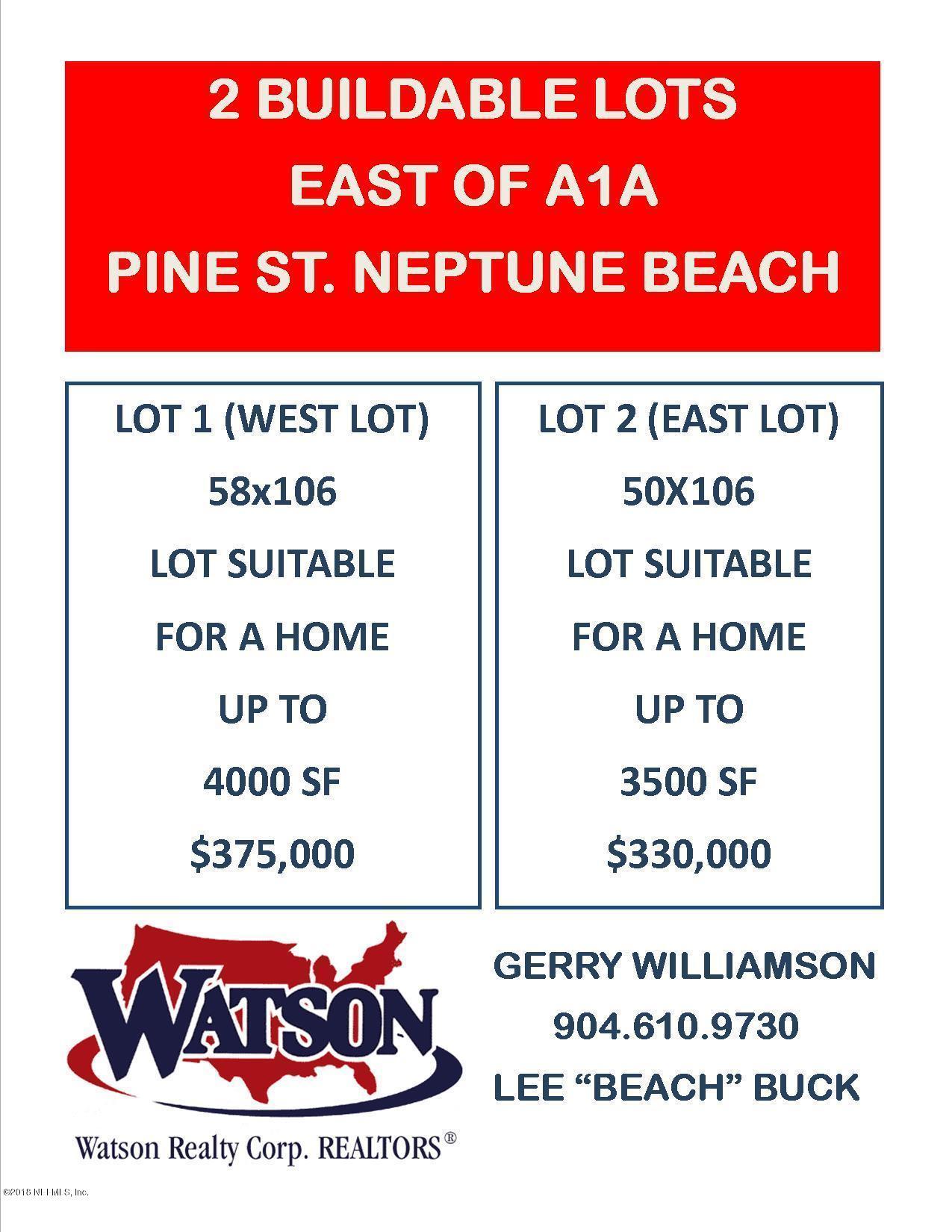 PINE,NEPTUNE BEACH,FLORIDA 32266,Vacant land,PINE,907391