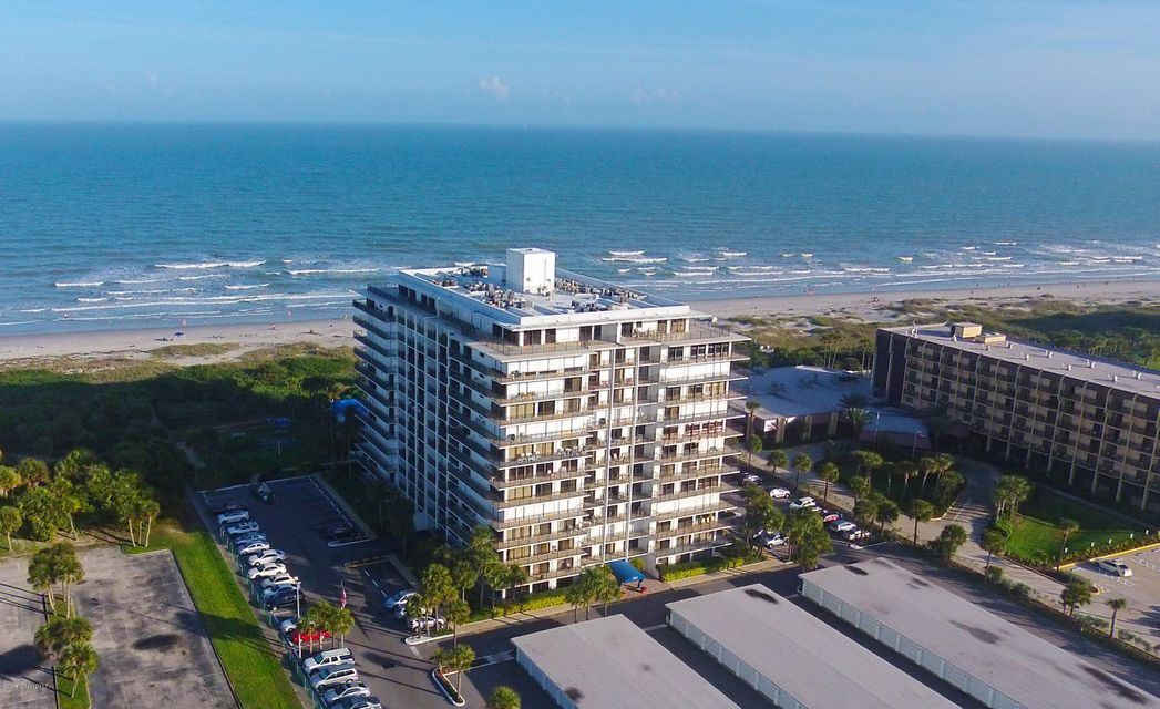 Ten stories up, beautiful south shoreline ocean views in beautiful Cocoa Beach! This maintenance free living, oceanfront condo has recently been remodeled with tile, crown molding, instant water heater, and comes fully furnished! Enjoy the largest condo community pool in Cocoa Beach, with a hot tub, exercise room, tennis courts, shuffleboard, library, clubhouse, storage locker, private beach access, on-sight maintenance, on-sight manager and a 1 car garage. Unit needs nothing, move right in to your own paradise in Florida.