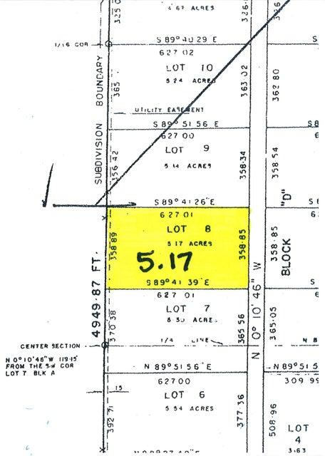 5.17 acres LOT 8, SUMMIT VALLEY RANCHOS --LOT 8, BLK D