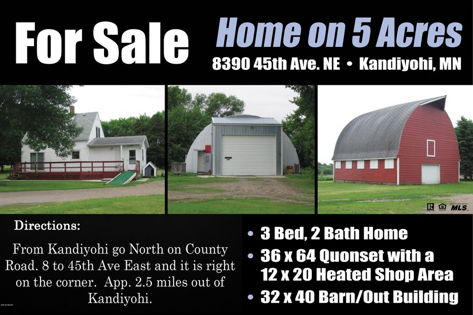 8390 45th Avenue,Kandiyohi,3 Bedrooms Bedrooms,2 BathroomsBathrooms,Single Family,45th Avenue,6031032