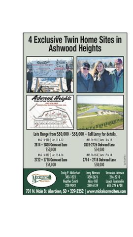 Exclusive twin home sites in Ashwood Heights. Call Larry Hanson at 605-380-2676 for details.  Only 4 sites remaining.