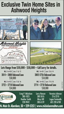Exclusive twin home sites in Ashwood Heights, call Larry at 05-380-2676 for details.  Only 4 sites remain.