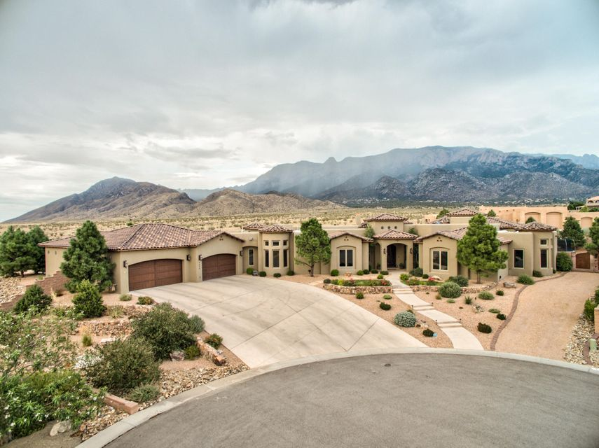 Arguably the best lot in New Mexico! Stunning mountain and city views throughout the home and accompanying yard. Lot backs up to the buffalo land in a gated cul-de-sac, providing unrivaled privacy. Built to entertain with an extensive outdoor living space as well as detached casita. An elevated seating area and fire pit provides one of the best views in the city and doubles as an additional entertaining space. The Chef style kitchen is complete with all Wolfe and Subzero appliances. 5 fireplaces. Master has Fireplace and spa-like bathroom and soaking tub with views. Dramatic entrance provides immediate and spectacular views of the Sandia's. Other amenities included a 7 car, pull through garage (that includes a tractor garage) and on suite bathrooms that accompany each of the 4 bedrooms.