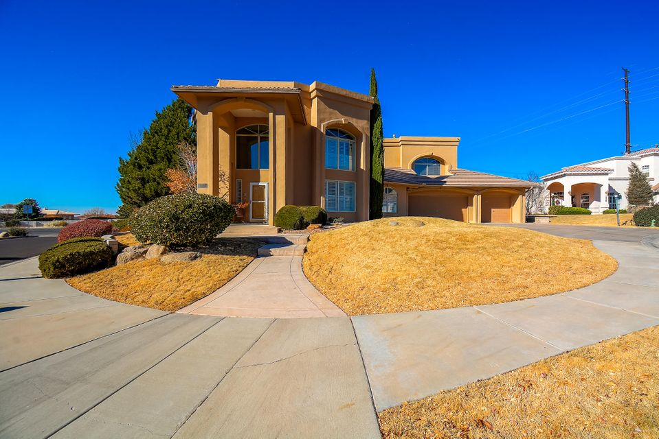 Seller is extremely motivated! Amazing price per sq. ft.! Endless possibilities await the new owner of this beautiful custom home located in the Estates at Tanoan. With a whopping 4,800 sq. ft. there is room for everyone in this home! This home has a ton of features and amenities! Walk in and prepare to be amazed as you are greeted by the elegant foyer that leads you in the formal living room and dining room with plantation shutters! Beautiful curved wooden stair case! Home offers a large great room/ family room with a fireplace that leads into the gourmet kitchen. Kitchen has top of the line appliances such as the Viking gas stove any cook would love! Kitchen also has a stand-alone ice maker. Breath taking mountain views from the