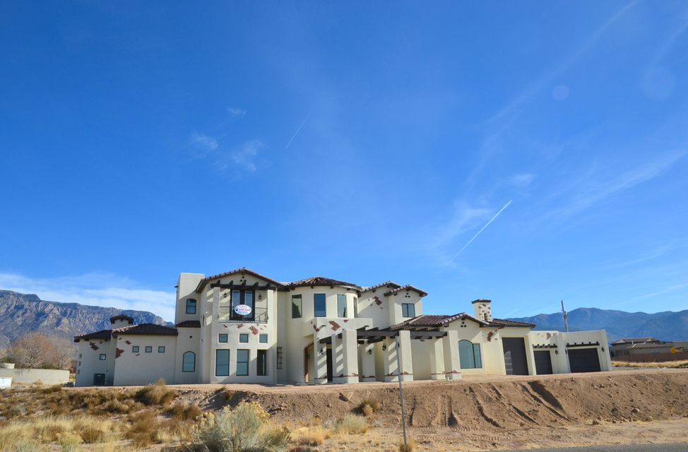 UNBELIEVABLE! This Masterpiece is almost complete! Located in the highly sought after North Albuquerque Acres subdivision, this custom home feathers over 5,500 sqft, 5 Large Bedrooms with 5 oversized bathrooms,Multiple living areas,a 4 car garage with room for a work shop and RV! View of both the City and the Sandia/Manzano Mountains. ''Details are important to us'' the owner said. From the custom ceilings to the tile and counter tops, tank-less water heaters, luxurious master suite with a ''SPA like'' master bath, an amazing master closet with washer and dryer hook up, over-sized shower, double vanity with garden tub, granite counter tops, ample storage and cabinet space, ......nothing in this home is basic. Call me today to walk you though this ''one of a kind'' home!