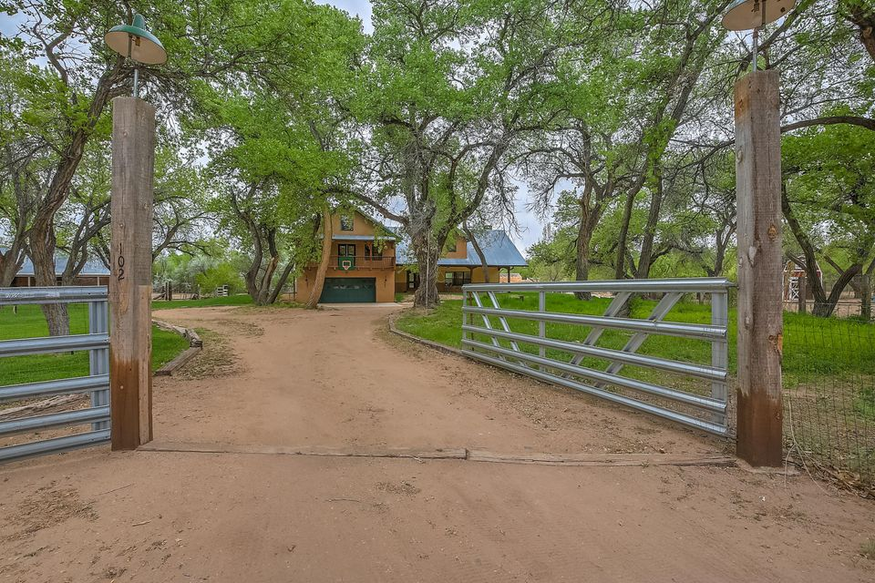 Nestled in a private eastside location, this Northern NM Adobe lives large under the majestic cottonwoods.  Sits beautifully on 1.5 irrigated acres with a producing fruit orchard, & MRGCD rights. Portal entry, spacious open living, dining, & kitchen. Perfect for entertaining! Natural light, stained concrete floors, high wood beam ceiling w/corbels, wood FP, all with views of the land.Multi levels in home, MBR suite w/sitting area, wood floors, private balcony, updated bath, walk in closet. Next level boasts 2 spacious BR's & huge game room or 4th BR, full BA. Next level is partially finished attic, not included in SF. Tons of storage & personality! 2 car gar., service room, guest 1/2 bath. HWRH, BB, & Refrigerated air/combo units, also. Convenient to walk to restaurants. Access to Bosque
