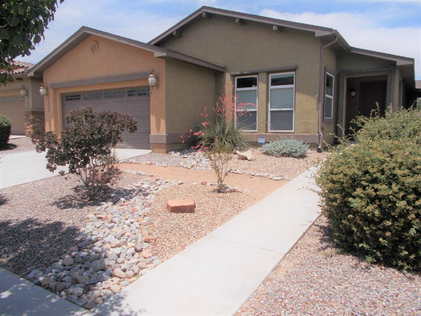 An excellent value on this beautiful, light and bright 1846 floor plan in popular Jubilee subdivision in Los Lunas. Spacious great room for living and dining. Large kitchen with ample cabinet space and pantry, includes bars for seating at both ends of kitchen, and additional breakfast nook or flex room. Master bath with walk-in shower, double sinks. Easy care upgraded laminate floors throughout. Low-maintenance landscaping in front and back, with covered patio. Refrigerated air. 10,000 SF community clubhouse includes fitness room, game room w/ pool tables and darts, sparkling heated pool and spa, community room, tennis and pickleball courts.