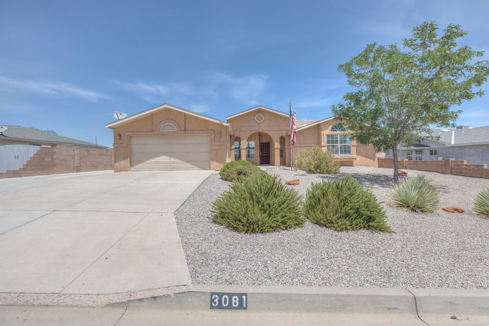 TAKE ANOTHER LOOK**Roof being replaced this week and a water heater replaced in June!!** Beautiful home in a great location!Freshly painted interior invites you to take another look! This home is in the Rio Rancho High School district. Enjoy the New Mexico sunrise or sunsets in the backyard with unbeatable mountain views! Host a Fourth of July spectacular with unobstructed view of the annual fire works display. Large concrete slab on side yard for the big kid toys, complete with a large storage shed! Covered patio, and low maintenance yard!Don't miss this opportunity to be close to shopping, entertainment and more with NO HOA or PID's. If you were on the fence, this new price should get you moving!
