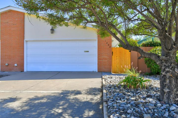 Large driveway with a shade tree