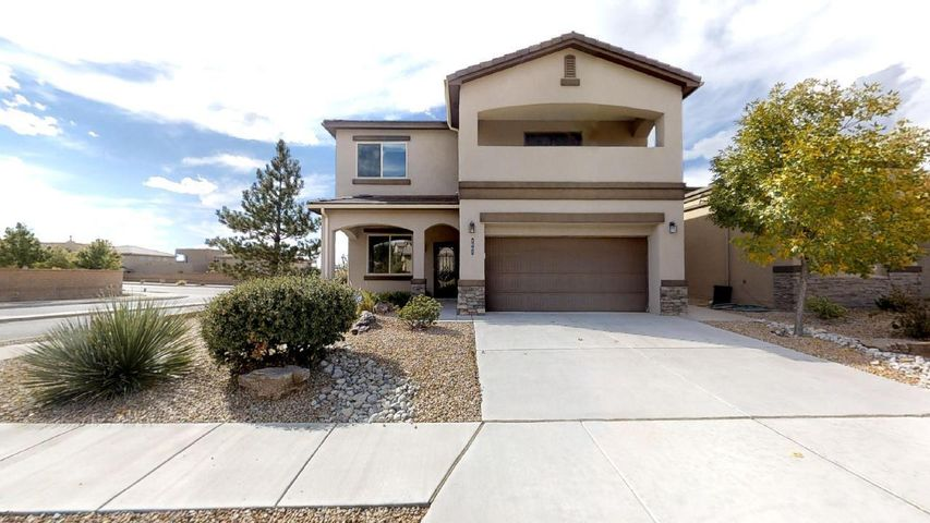 Gorgeous Former DR Horton Model Home in Volterra Community. Energy Efficient, 4 Bed/2.5bath, Office & Huge upstairs Loft. Kitchen boasts custom pull out drawers, Large Pantry, Granite counter tops, Stainless Appliances, Breakfast Nook & Fancy Wine Bar. Large Master bedroom w/x-large walk-in closet.  Enjoy private master Balcony with Breathtaking Sandia Mountain Views. Master Bath double sinks & Oversized Shower. Stone gas Fireplace, Hardwood Floors, lots of Storage, Custom Iron Security doors, Upscale light/dark blinds, 6 Ceiling fans, Tinted Windows, 2 refrigerated A/C units, Upstairs Laundry, Tankless water heater.  Beautiful Landscaped Backyard w/ DreamStyle Screened covered Patio & Apple/Plum/Peach Trees. Finished oversized 2 car garage. ADT wired security system. Transferable Warranty