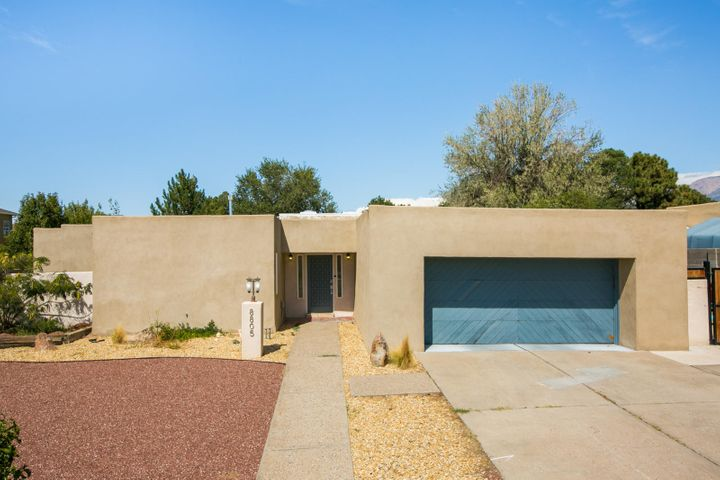 An architecturally stunning remodel in the far NE heights! Open the front door into the spacious light filled foyer with vaulted ceiling, beautifully appointed living room and kitchen. Custom Hickory cabinetry and stainless appliances flow into breakfast nook/eat in kitchen. Formal dining space, wet bar and breakfast nook give a variety of spaces to entertain and be together. Gorgeous travertine tile has romantic & rustic charm. Master suite boasts contemporary stand alone bath & walk-in shower, dual vanity, & private courtyard. Tranquil backyard offers outdoor living space beneath the covered patio & the soft sound of water from the Koi pond. Remodel done in 2015 including: TPO Roof, Refrigerated air, Stucco, Kitchen & Baths! Recently xeriscaped the front yard & New Window treatments!