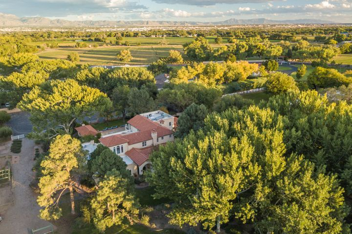 Nestled on over 3 acres amongst cottonwood trees and sprawling landscaping, this property is situated in one of the most enviable North Valley locations with sun filled rooms, timeless finishes and a wealth of entertaining spaces.   Architectural detailing with wood and natural stone in the living areas add character and classic charm, while the chef inspired gourmet kitchen is cozy enough for intimate conversation but well equipped for a crowd. The master bedroom is an oasis of relaxation with fireplace, spa-like master bathroom and balcony overlooking the grounds. The resort style pool in a tranquil environment boasts an outdoor fireplace with covered cabana for year round outdoor living. Home is a wonderful setting as an equestrian property, a compound or just a private retreat.