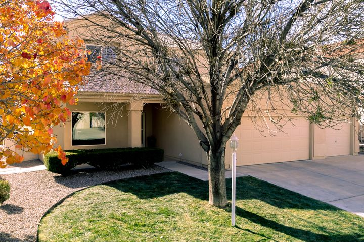Beautifully maintained home in Rio Rancho community of High Resort. Open floor plan with lots of natural light. Great room has tile flooring, built-in shelving, gas log fireplace, ceiling fan. Kitchen updated with granite counters and tile backsplash, stainless steel appliances including Sub Zero refrigerator, gas stove, built-in microwave, pantry, breakfast bar and nook. Wood flooring in dining room, on stairs and in upstairs hallway. Master suite offers remodeled bathroom with granite counters, tile flooring and decorative accents, garden tub, separate shower, large walk-in closet with built-ins, balcony with views of the mountains.  Nicely landscaped front and back yards. Outdoor flagstone patio and wood burning fireplace. And...so much more. This one won't last long!