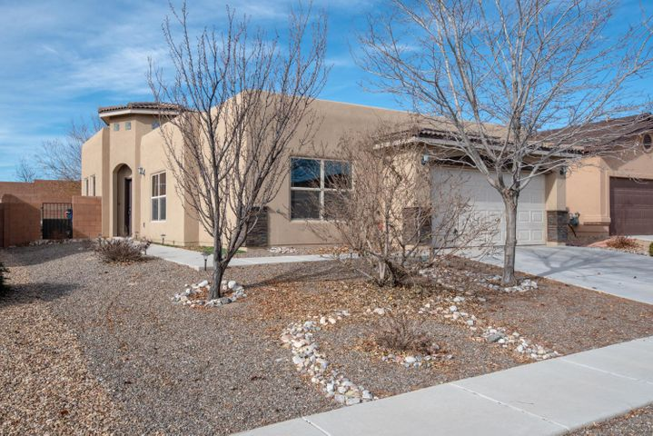 Located in the desirable ''Saltillo'' Subdivision-!!! Offering stacked stone fireplace, high ceiling, rich OX blood cabinets and doors, tile counters, gas stove, island, breakfast bar, pantry, pella windows, tankless water heater, panasonic whisper fans and 2x6 construction. Upgrades include: wood blinds, solid wood doors, crown molding and hardware on kitchen cabinets. Oil rubbed bronze fixtures and accent tiles in bathrooms. Large master bedroom has walk-in closet, bath with double sinks. Fabulous backyard with large patio, easy care artificial grass, dog run and gas stub out for grill. Build Green NM has certified this home as a ''Silver'' level high efficiency green home.