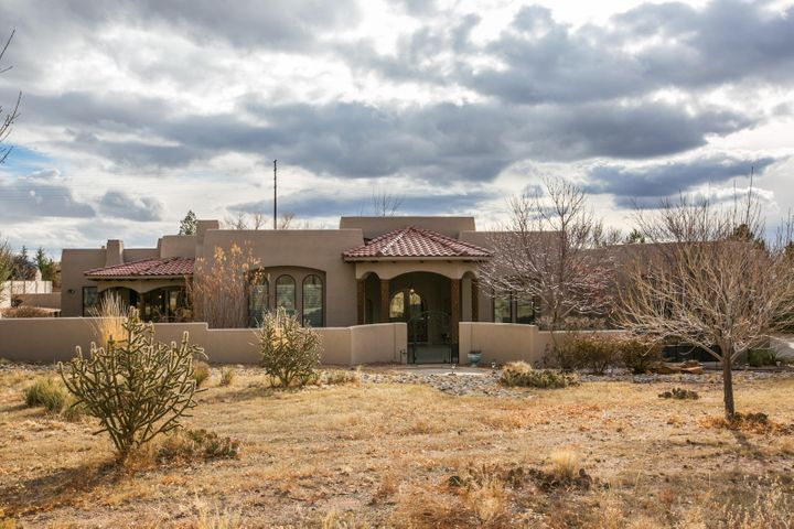 What an incredible opportunity to own a beautifully designed single story home in North Albuquerque Acres. Upon entering this home, you will be greeted by beautiful arched doors which invite you into a large foyer. An elegant dining room offers a welcoming space to entertain friends and family. The huge great room has beautiful arched windows and a fireplace for those cool evenings. The kitchen is a dream and offers a large island, beautiful handcrafted cabinetry, rich granite and quartz counters, a built in desk, a breakfast nook, and a large butlers pantry in addition to a walk in pantry. The master suite is a wonderful retreat with a huge bedroom, an attached sitting room which could double as a nursery or office with a wet bar, dual walk in closets and a beautifully appointed bathroom.