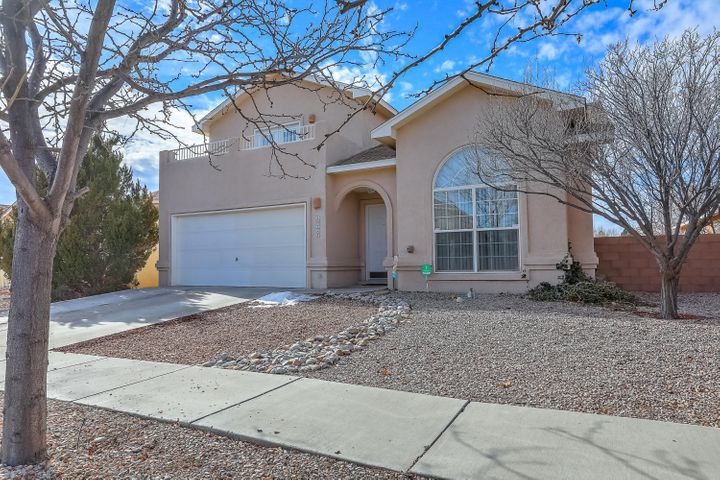 Don't miss this picture perfect Home!  Move in ready 5 bedrooms home in Ventana ranch within walking distance to park and elementary school!  This home has been beautifully kept and ready for new owner!  Featuring granite counter top kitchen and tiled back splash; upgraded cabinets, stainless steel appliances.  Updated bathroom vanities and new ceiling fans through out the house.  New flooring in master bedroom.   Down stair is one bedroom with attached bathroom with shower, remaining bedrooms including master bedrooms are upstairs.   Xeroscaped backyard is perfect for entertainment.  Don't miss the perfect views of the park and the sandia mountains from 2 seperate balconies upstairs.