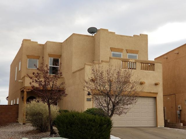 Extraordinary Views -Mountains & City! Stunning home in Desert Ridge above Corrales; Chefs Delight Kitchen Bosch Stainless Appliances incl double ovens, pantry, sleek granite; Open Great Room, Light and Bright, Grand 2 story entryway. Luxurious Master Suite w/views. Updated master bath boasts modern stand alone bathtub and frame less shower. Plus huge walk in closet; large bedrooms w/walk in closets, mud room hallway, custom built in storage throughout. Main floor bedroom with full bath adjacent. Close to Cottonwood Mall, Corrales and grocery stores. Large covered patio for entertaining. Solar panels, water softener/filtration system, Ecobee smart thermostat. No PID or HOA. Move in ready! Enjoy!