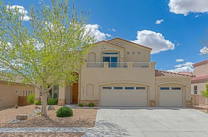Beautiful custom Charter home on a  premium lot across from the Cabezon park, pool and clubhouse. Large open kitchen with stainless steel appliances plenty of counter space, cabinets and a walk in pantry for the chef in your family. Windows in family room and master bedroom are tinted for efficiency. Gorgeous views of the Sandia mountains and city lights from the master deck. Over sized 3 car garage and so much more you wont be disappointed.  And NO HOA FEES!!! that's right this home is on one of the two streets in Cabezon that are exempt.