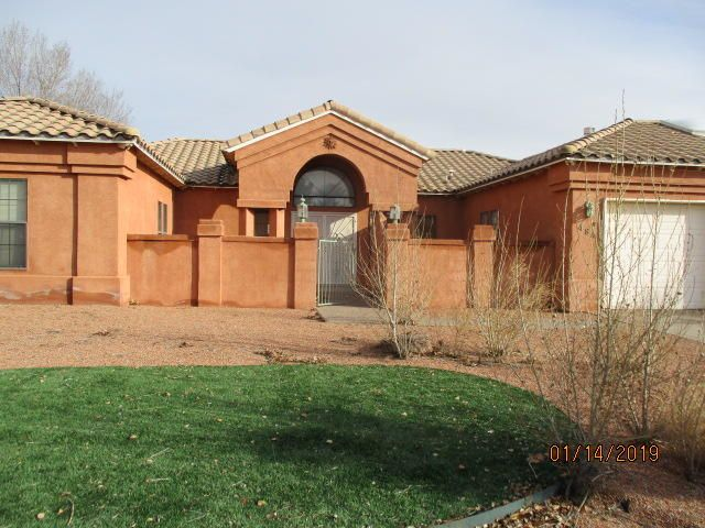 Great 3 bedroom, 3 bath home located in the heart of Rio Rancho. The enclosed front entrance and Spanish tiled roof give this property tremendous curb appeal. The interior of the home includes a a jetted tub in the master bath, sky lights and a spectacular view from the living area to the back yard. Centered in the back yard is a magnificent pool that is great for entertaining and cooling off in the sizzling New Mexico summers. Seller will not pay GRT. See attachment for PAS requirements and WFHM offer submittal information in MLS document section. Property sold as is where is and with all faults.