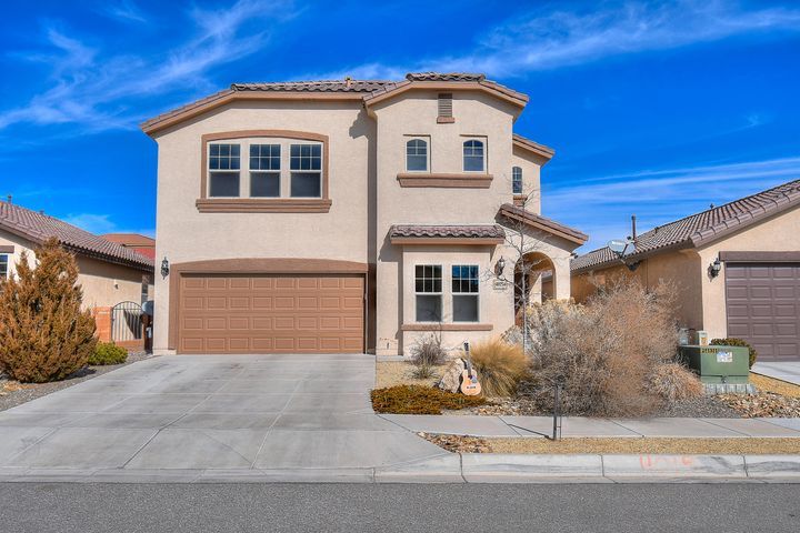 Popular Pulte floor plan, built in 2012, The Alameda! 3BDR/2.5 BA with a flex room on the first floor; could be an office, dining, playroom, or den with large closet. Master suite has great VIEWS of the Sandia Mountains, garden tub, two sinks, separate shower and huge walk-in closet! Oversized backyard is not ordinary! Beautifully landscaped with grass, shrubs, trees, and extended covered and open patio for entertaining and outdoor dining! Great room has raised ceilings, lots of window overlooking the backyard, tile flooring and open to the kitchen. Kitchen features granite, work island, bar and breakfast nook, gas stove, recessed lighting, custom backsplash and large pantry. Close to the library, schools, sports park, and aquatic center