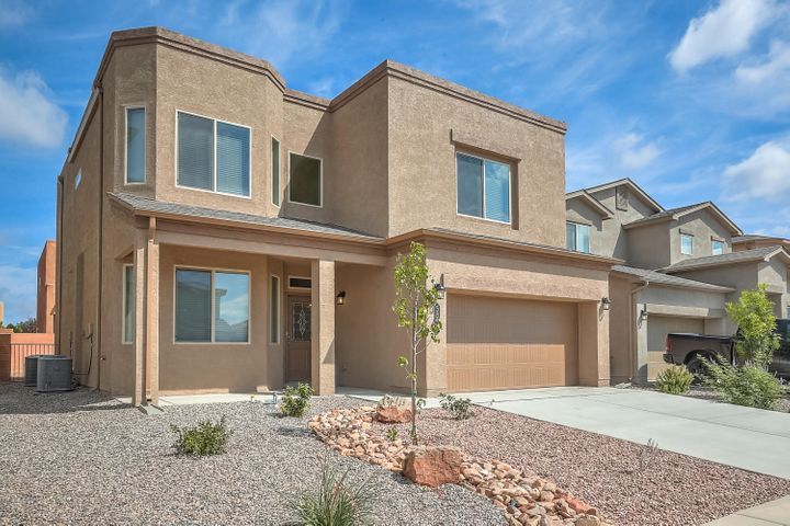 A Designer Home Like No-Other with 4 bedrooms, Office! & Loft.  Nobody has ever lived in this Erickson by D.R. Horton. You are going to love this kitchen with, stainless steel appliances granite counter tops & a spacious island, featuring walk-in-pantry, a kitchen that opens to the dining and living room. The Inviting owner's suite and spa like master bath with over sized Terrazzo tiled master shower will pamper you, double vanities & upgraded closet wood shelving. A spacious family Loft is the perfect private family gather place. The Walled Backyard Includes a Covered Rear Patio for Fun, Sun & Shade, Certified Green Build NM Efficiency, w/Refrigerated Air, Tankless Water Heater, 2x6 walls, & blown-in insulation. Paradise Hills Park, Pool, & Community Center are just north of Paradise Hill