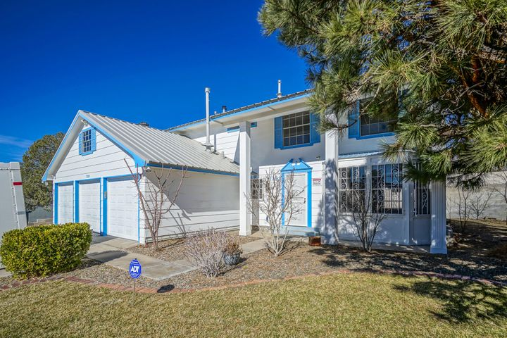 Welcome home to 7209 Beck Dr NE! Spacious 4 bedroom 2.5 bath POOL home with 3 car garage. Formal and informal living areas. Open family room with great fireplace.  Take a dip in the pool or 10 seat hot tub. Covered gazebo and stereo system. Did we mention the mountain view? Lots of fruit trees -apricot, pomegranate, cherry, peach. All bedrooms upstairs. Spacious master suite with private bath. Recent upgrades include: newer carpet, newer roof (May 2018 with 10 year warranty), newer furnace, newer paint. Great NE Heights location just moments to schools, shopping, breweries and hikes! Come see!