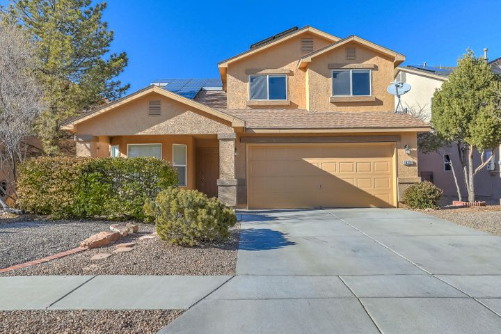 Fantastic DR Horton built home in Ventana East.  New carpet, fresh paint, refrigerated air conditioning and is ready for new owners!  Check out the open floor plan with 2 living areas, dining room, 3 bedrooms plus a loft!  The kitchen has upgraded cabinets, stainless steel appliances, plus an island. This kitchen is great for entertaining.  Upstairs the master suite offers high vaulted ceilings, private balcony, full bathroom with double vanity, and spacious walk in closet.  The additional 2 bedrooms continue to have high ceilings plus another full bathroom.  The loft space is great for kids, craft space, game area, or used as an office.  Enjoy spring in ABQ in the low maintenance back yard and covered patio.