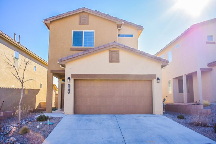 The Stormcloud Community offers numerous parks and trails throughout the community and a location that can't be beat with quick access to I-40 and the west side via Unser. Refrigerated Air in this Beautiful DR Horton 2 story home, built in 2017. 3 bedrooms, 3 baths. Open Floor Plan. Living Room and Kitchen area downstairs with ceramic tile floors and carpet. Stainless Steel appliances, granite counter-tops in the kitchen. Large Master Suite has a master bath with large walk-in shower, double sinks and walk-in closet. Laundry is upstairs. Nice clean subdivision of newer homes. Truly a Must See!