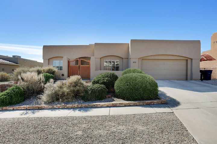 Come and make an offer on this pueblo style home that has an open floor plan with great patio views.  This home has 3-bedrooms, 2-bathrooms, with a large living area.  As you enter the spacious master suite you will see that the attached room can be used as a work out room or your own private office.  The master bath has its own jetted tub for those relaxing days and its own shower.  The kitchen has solid surface granite counters, and equipped with all appliances. You can take in the city and mountain views while enjoying dinner in the dining area.  The yard is fully landscaped and one can enjoy the morning or late evening by taking in the views from the front patio or you can enjoy the sounds of the water fall in your backyard.   COME MAKE an OFFER!