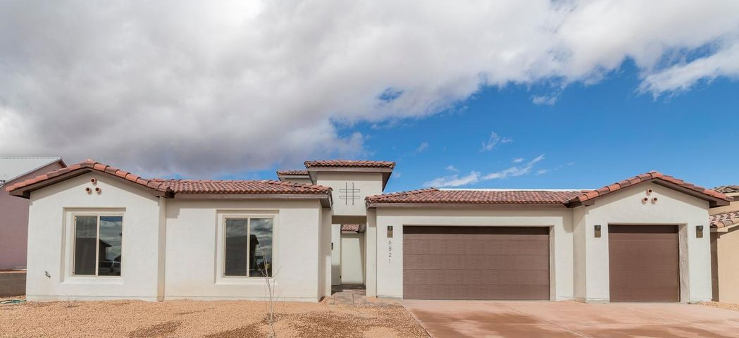 New Construction!  Come take a look at this gorgeous custom home in the desireable Rio Rancho Estates.  This single-story home has a lovely entry courtyard, lots of natural light, sliding glass patio doors and exciting custom finishes.  Master suite is spacious and bright with access to back patio.  Master bath has double walk-in closets, two sinks, and walk in double-headed shower.  The additional three bedrooms are on opposite ends of the master suite, all with a view of the entry courtyard.  Deluxe kitchen features a walk-in pantry, oversized island, granite counter tops and stainless steel appliances.  Enjoy the cool summer nights on the back patio.  Half acre lot with endless possibilities.  Welcome Home!