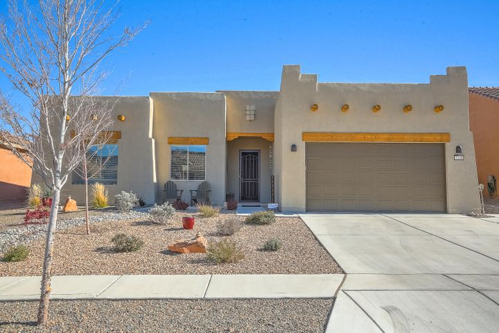 Gorgeous Home in Del Webb Mirehaven!Nestled near the Petroglyph National Monument, this Pueblo Style home is 2017SF and under 3 years old! Features include: 10' Ceilings, Cherry Wood Cabinetry, Gorgeous Granite Counter-tops, Gas cook-top, SS Double Oven, SS Range Hood, Pantry,  Large Kitchen Island, Large Master has  Custom WIC and Shower w/bench, DBL Sinks,  Guest BR with Full Bath! Office or Den! Built-in Outdoor Gas Fireplace.  Patio has extended concrete and walkway at the south side of the home to the front gate. The 2 car extended garage has a wonderful custom storage area with permanent shelving and very nice epoxy flooring! Del Webb has walking trails, Award Winning Amenity Center with daily activities, pool, gym, tennis & pickle ball courts, etc! This is an age 55+ community!