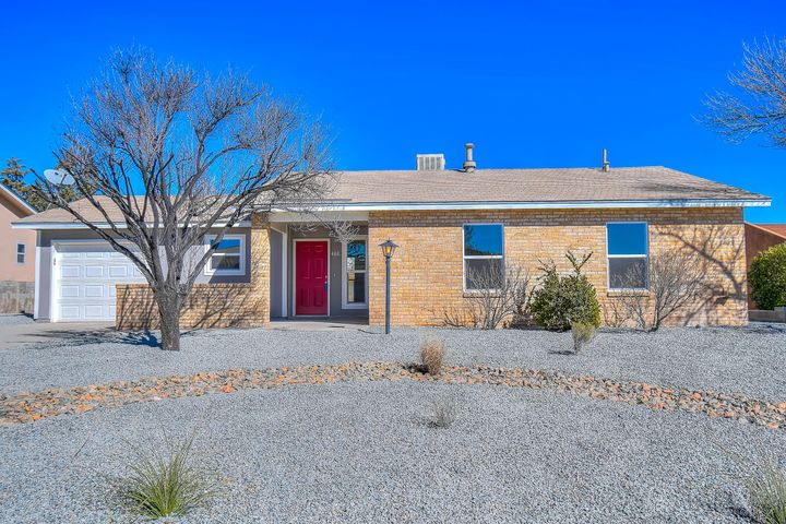 So Cute, and Ready to Go! Detail and style show in this clean, completely remodeled home, nestled in a quite subdivision in Rio Rancho.  Kitchen includes new LG appliances, new gas convection range, microwave, gleaming quartz counter tops, custom sink. Bathroom has custom tile, energy-efficient lighting, and new fixtures. Huge living room adorned by gorgeous tile-plank flooring and flooded with light. New windows, heater, cooler, water heater, paint, carpet, landscape.... the list just goes on an on! This is an ADORABLE home and it's sparkling clean! Hurry and make it yours!