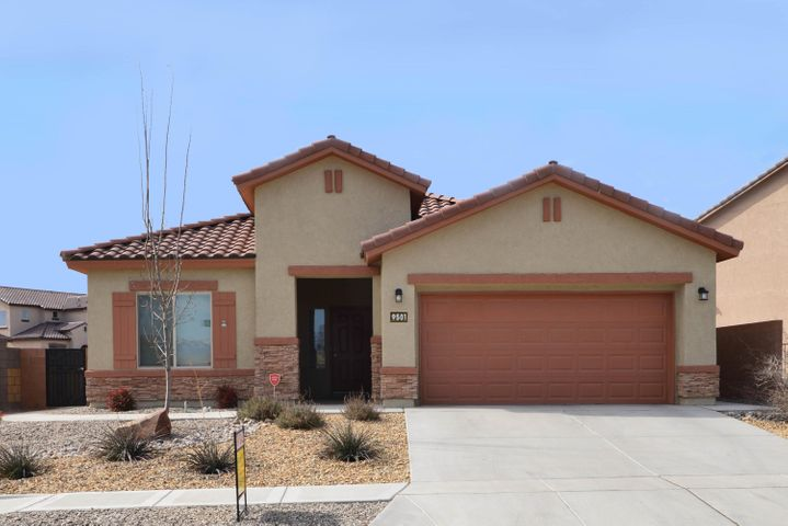 Located on a premium corner lot, this lovely 2 yr old Pulte home has a bright open floor plan with a large greatroom, dining room and kitchen with stainless appliances and granite countertops. Home has 3 bedrooms (one with double doors) or could be used as 2 bedrooms with a home office/study. Spacious master suite has walkin closet and bath with dual sink vanity and large tub/shower. Fully finished 2.5/3 car tandem garage with 220 volt plug. Beautifully landscaped backyard with a manicured lawn, large covered and open patio, and storage shed with tile roof.