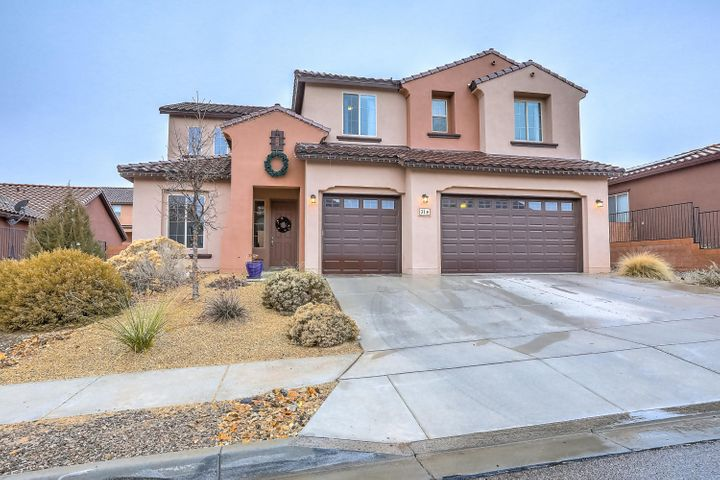 This former Pulte model home has it all including a new heated swimming pool. You don't want to miss this home! The popular Spruce floorplan features an open and bright concept with downstairs master suite and office. Kitchen includes: dbl-oven, gas stove, SS appliances, granite counters, under cabinet lighting and walk-in pantry. Enjoy extra storage in the mud room, laundry room and a tandem 4 car garage. Upstairs features 4 large bedrooms, 2 full bathrooms (1 that is a Jack & Jill), huge loft and more storage. Home is equipped for security and audio. Backyard is a dream, fully landscaped with a covered patio, extra sitting areas, new colorful flowering plants and the NEW heated pool. Close to schools, shopping, parks and more. Come see this home today!