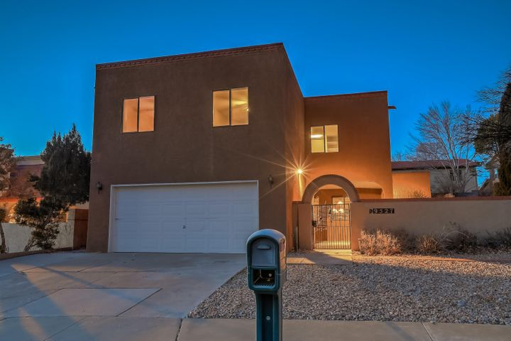 Rare NE Heights beauty!  4 (5 possible) large bedrooms plus an executive style office, which could become a 5th bedroom.  Private and enclosed courtyard with wrought iron gate, nestled in the prestigious Heritage East Neighborhood!  Oversized Open kitchen layout with sky high ceilings, warm comfortable lighting and large dinning room. This home was loved and well taken care of and perfect for multigenerational living. Priced to sell and ready to move in.