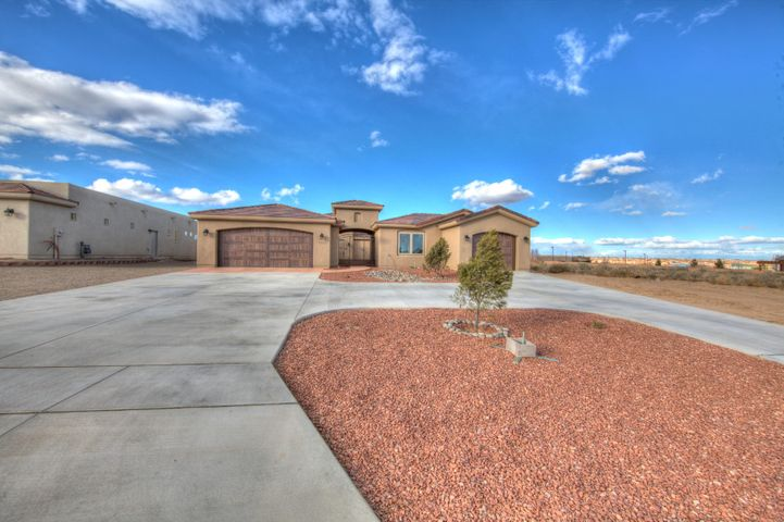 Just completed new construction!! Built by Award Winning PS Custom Homes. Don't Wait, this home will sell fast, builtin up and coming Neighborhood in Rio Rancho, surrounded by Gorgeous Custom Homes minutes from Albuquerque. Great School District, Close to RUST MedicalHospital, Shopping, Restaurants and Family Entertainment. This Superior Home was Constructed and Designed with Energy Efficiency in Mind. Welcoming OpenFloor Plan, Large Bedrooms with Walk-in Closets. Stunning Gourmet Kitchen, with a Huge Baker's Pantry. Exquisite Tasteful Finishes, Class and Sophisticationabound... TWO Seperate Garages. One for your guests in the attached Casita and a two car garage on the opposite end!