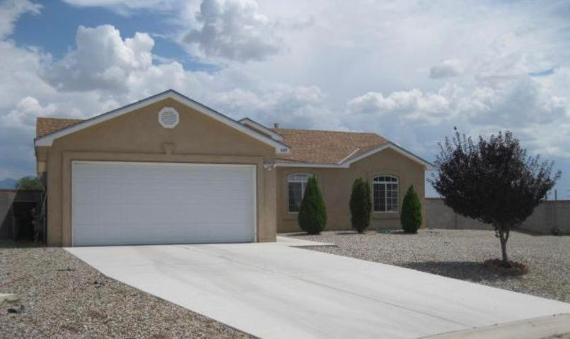Great opportunity to own this bank owned property. Awesome views of the Manzano Mountains, Cathedral ceilings in the kitchen and living areas, Tile in wet areas & kitchen! 1/2 acre lot, back yard access! This home is ready for its new owner. Please see LO/SO Remarks and Thank you for showing.