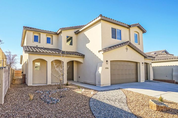Located in Desert Ridge Place, a gated community. The Coco at just below 3000 square feet with 3 car garage.  Brand New Abrazo Home is full of amenities.  With Master down and 2nd Master on upper level.  The open design includes high ceilings in great room and foyer plus 8 ft interior doors.  The kitchen has a gourmet cabinetry upgrade with bulit in oven and cooktop made by KitchenAid. Full New Home warranty and smart technology package included.