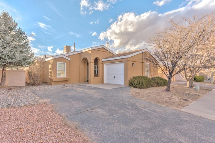 Charming 2 bedroom 1 bathroom home in Rio Rancho. Updated throughout with fresh paint and new carpet. Exterior features include large covered patio, storage shed, and no neighbors behind home. New Kitchen Appliances! Polybutylene piping has been replaced! Move-in Ready!!!