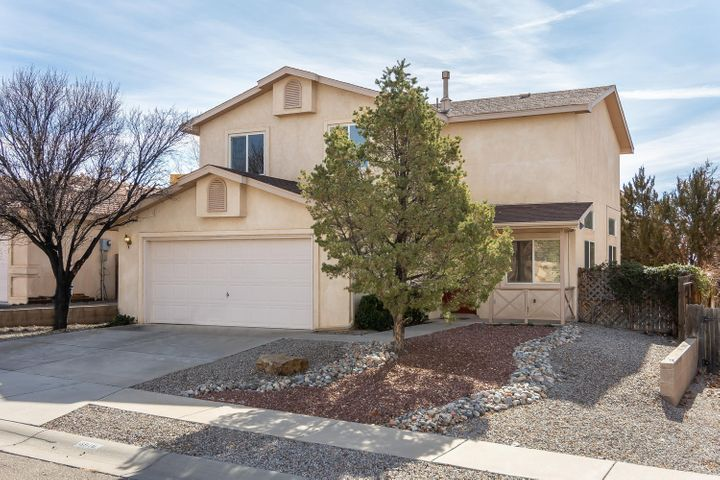 STUNNINGLY REMODELED in 2018 with attention to detail & fine finishes throughout, in model show condition! Located in in top rated school district, La Cueva High School & Desert Ridge Middle School! Step inside to discover a bright & open floor plan with soaring raised ceiling, clerestory windows, new doors & baseboards, new light fixtures & blinds, new luxury plank vinyl floor down stairs and new carpet upstairs. DELUXE KITCHEN with custom maple cabinetry, granite counter tops, breakfast bar & formal dining area! MAIN FLOOR master suite w/3 closets & sliding door to back patio. Sleek master bathroom with new vanity & counter top, double sinks, new fixtures! Half bathroom & service room on main floor. Upstairs: 3 large bedrooms & updated full bathroom! Extended patio & newer landscaping
